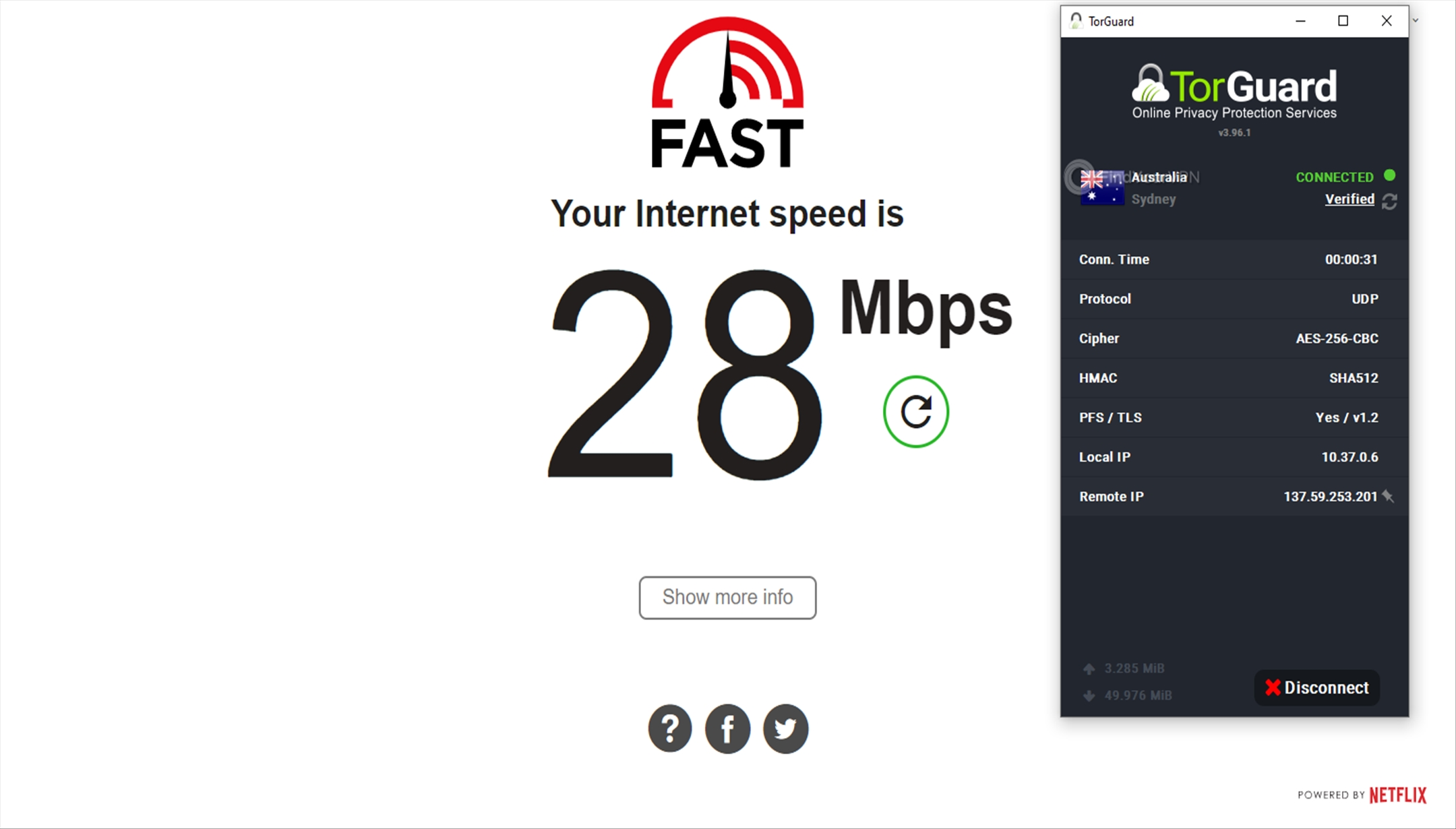 Speed test Australia TorGuard