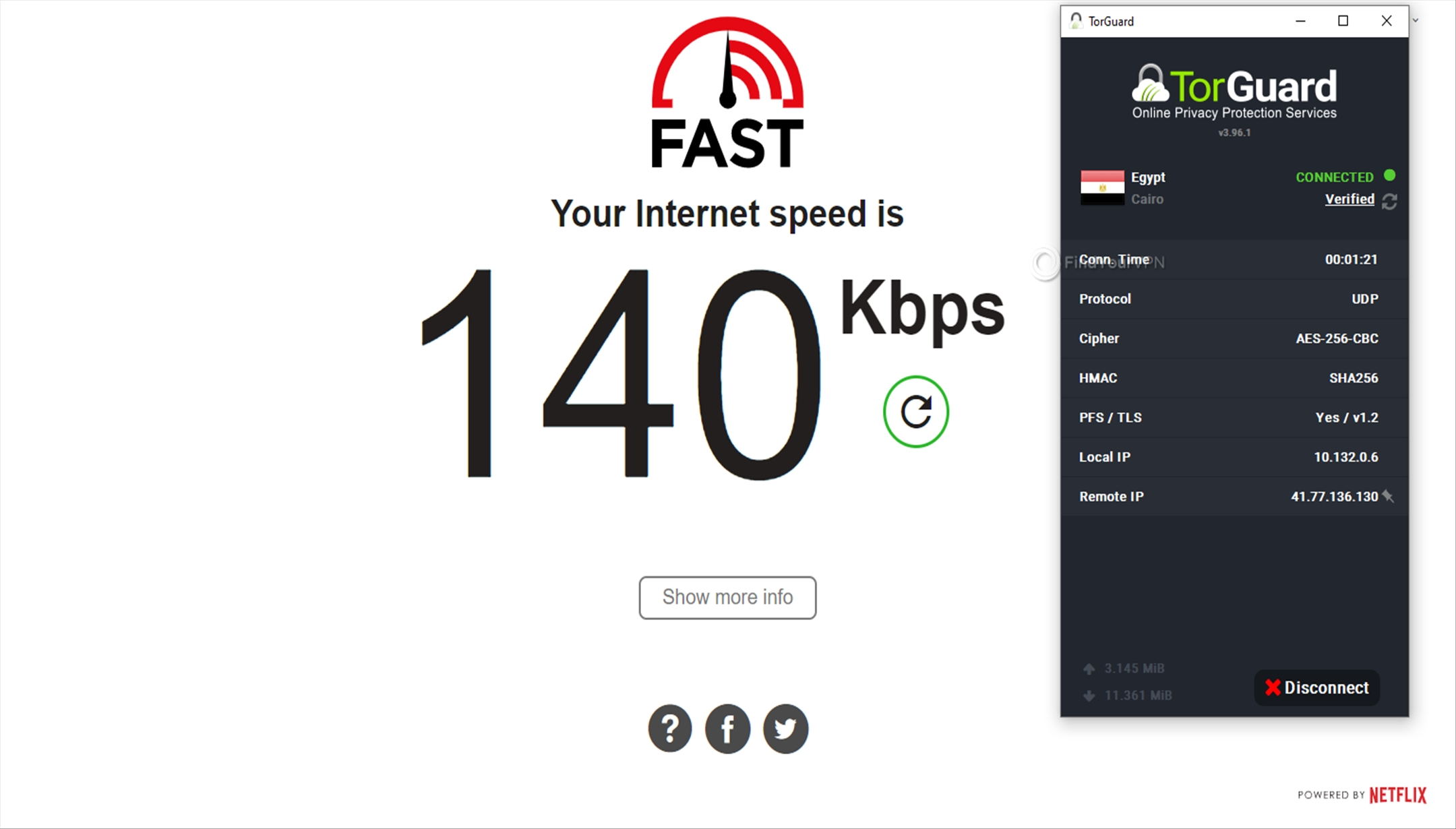 Speed test Egypt TorGuard