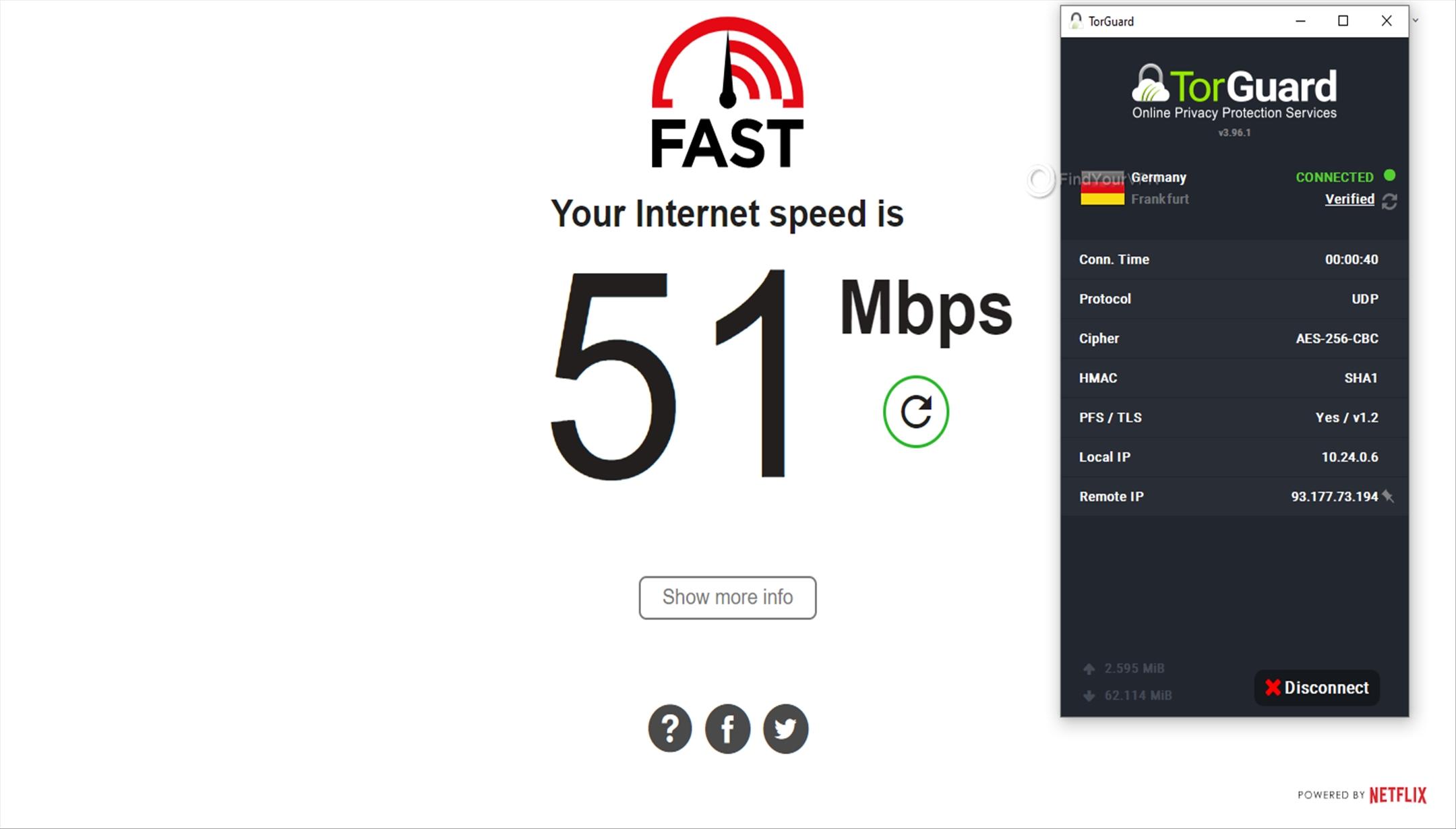 Speed test Germany TorGuard