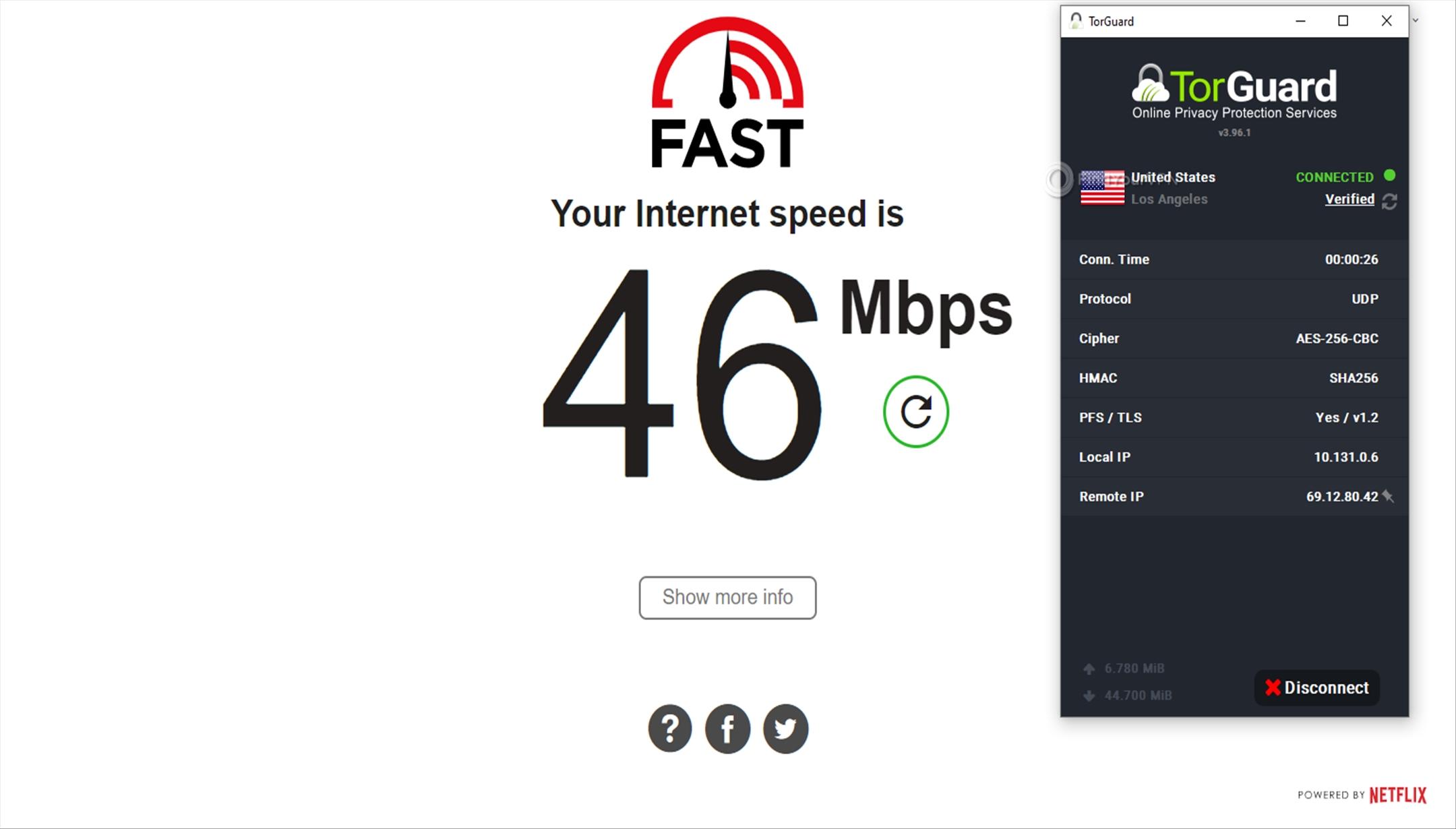 Speed test USA TorGuard