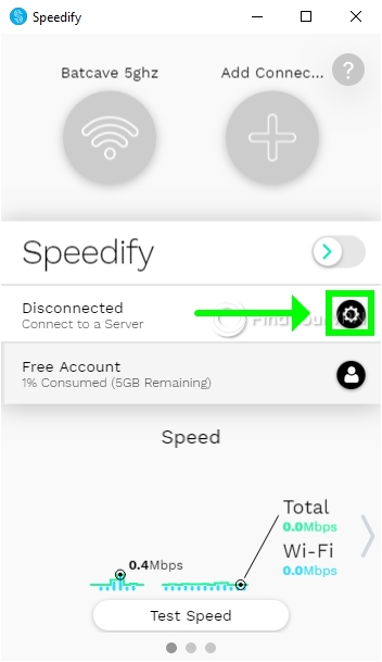 The Speedify main window