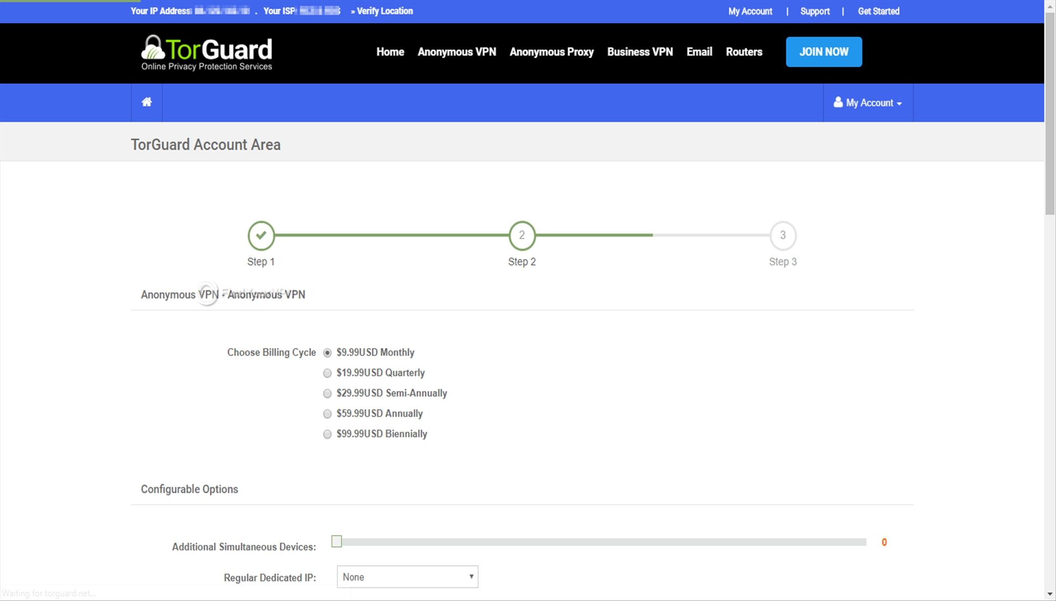Multiple TorGuard subscription plans