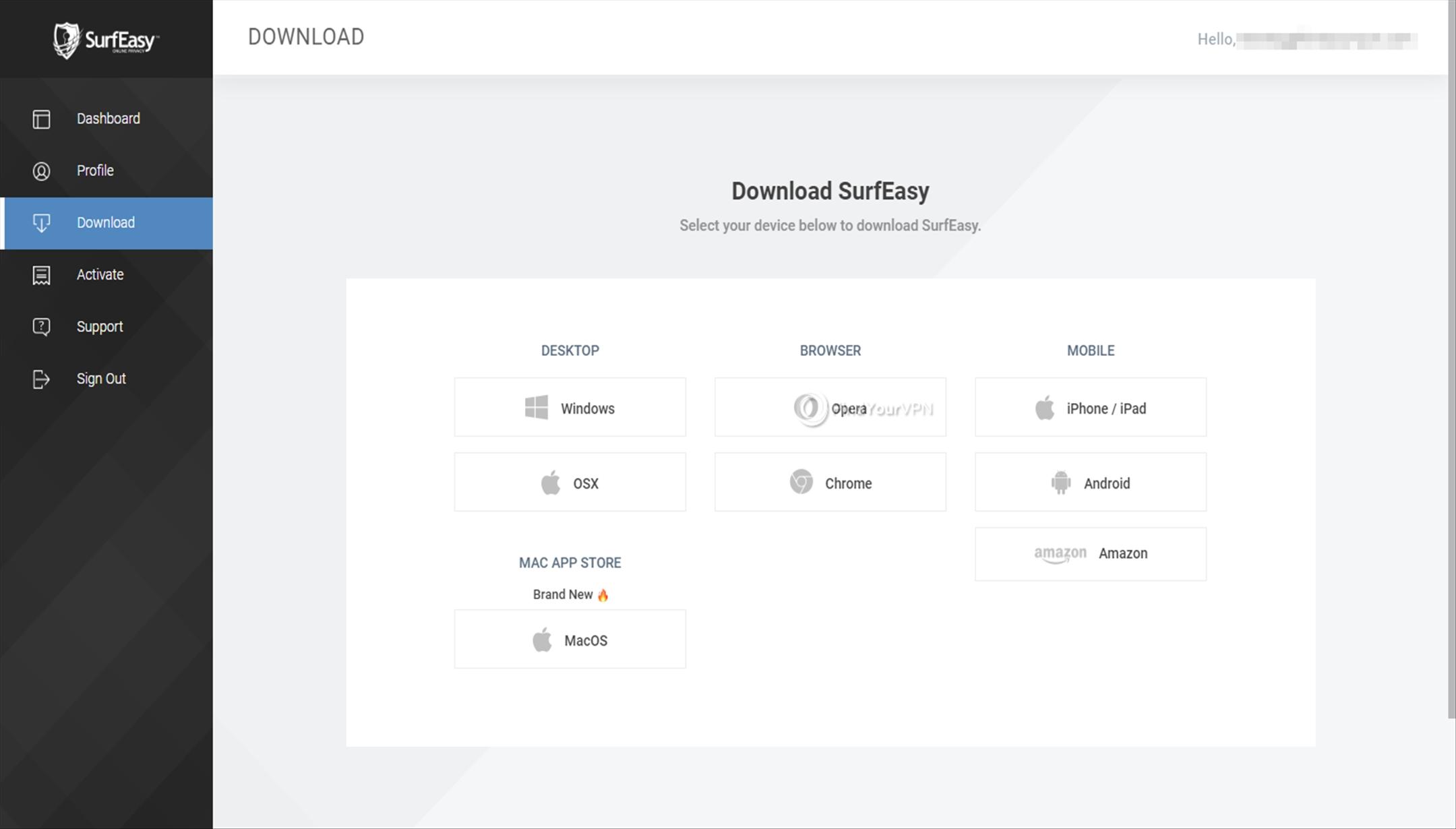 SurfEasy Download platforms
