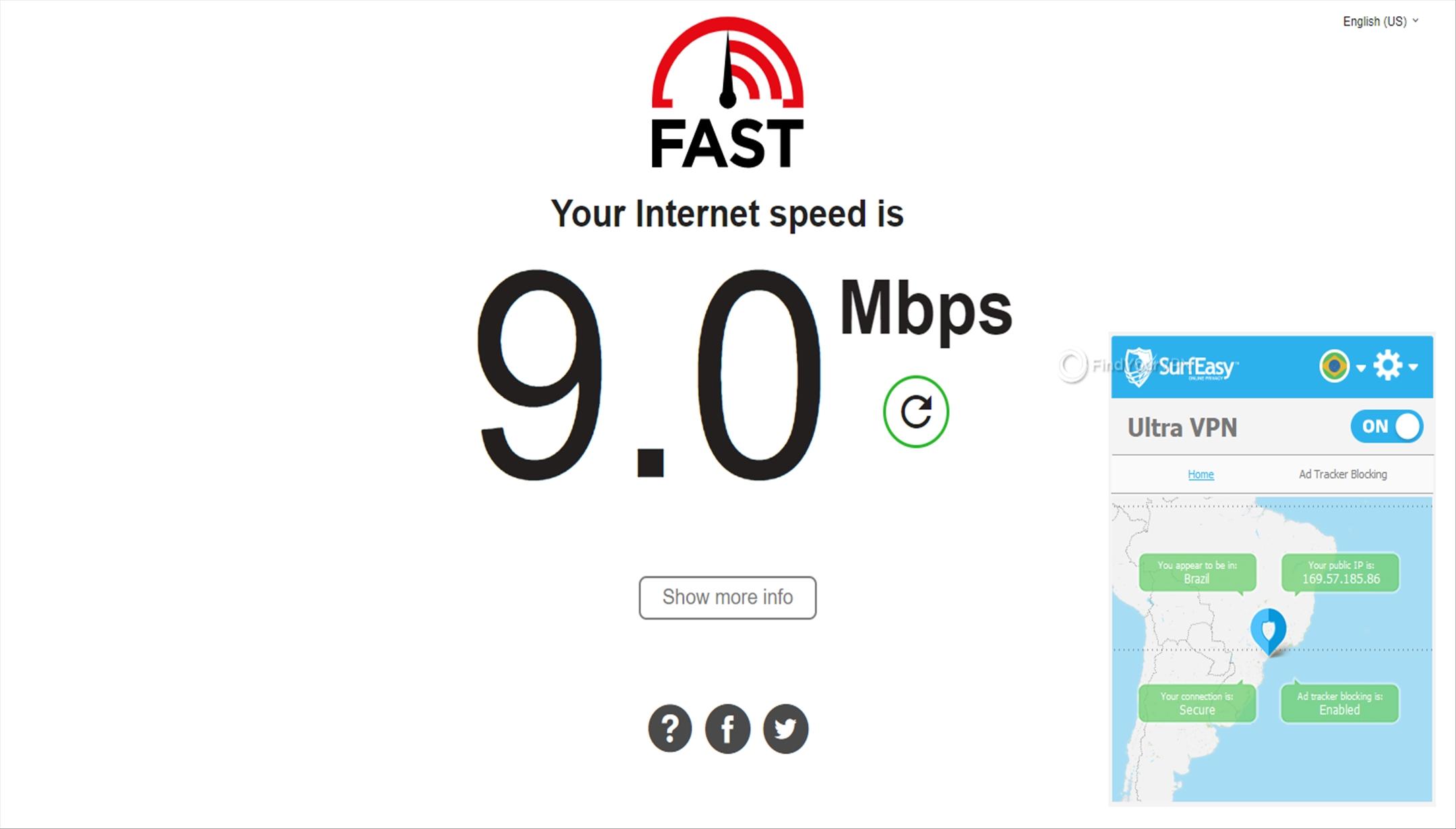 SurfEasy Speed Test Brazil 9 Mbps