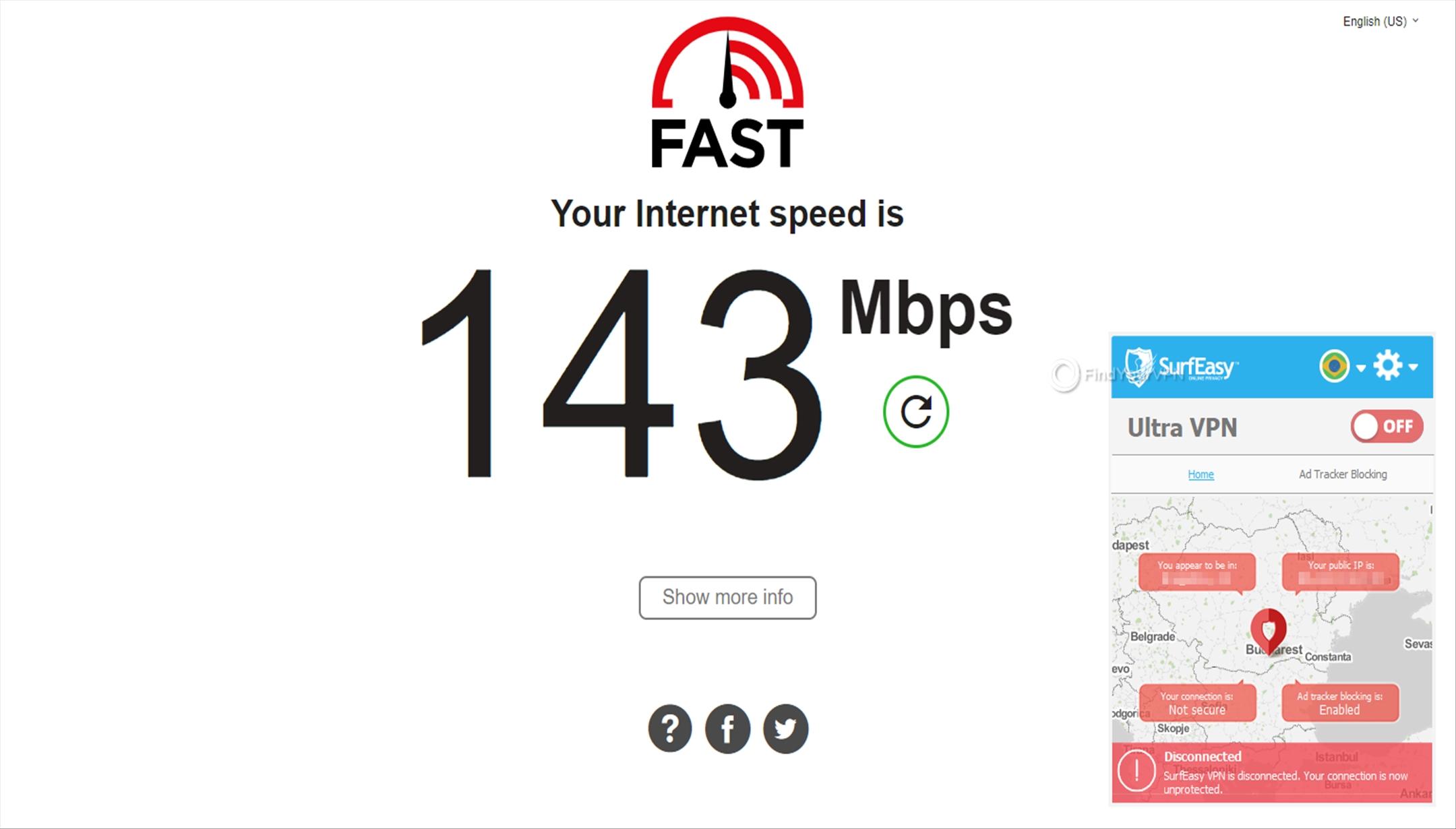 SurfEasy Speed Test No VPN 143 Mbps