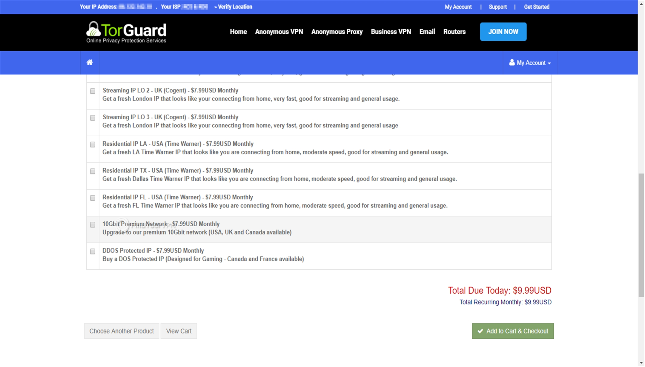 Configure additional TorGuard subscription options
