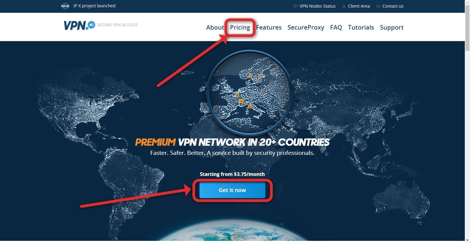 VPN.AC Creating Account