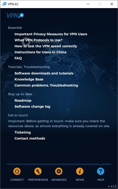 VPN.AC Main Window Help