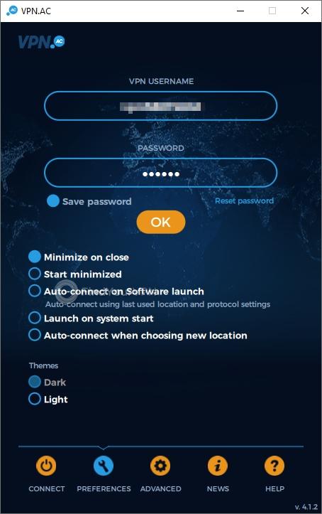 VPN.AC Main Window Login