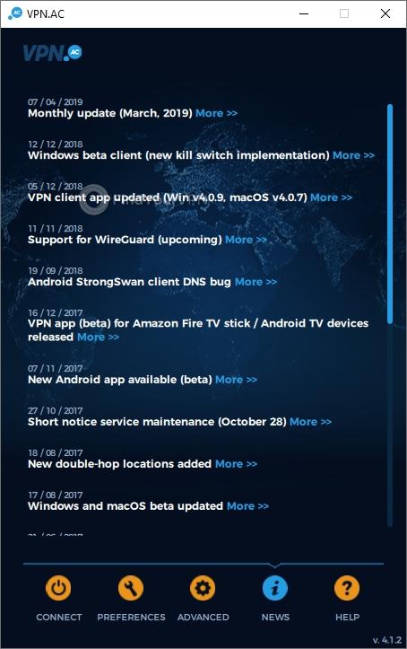 VPN.AC Main Window News
