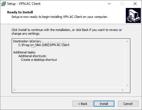 VPN.AC Setup Install confirmation