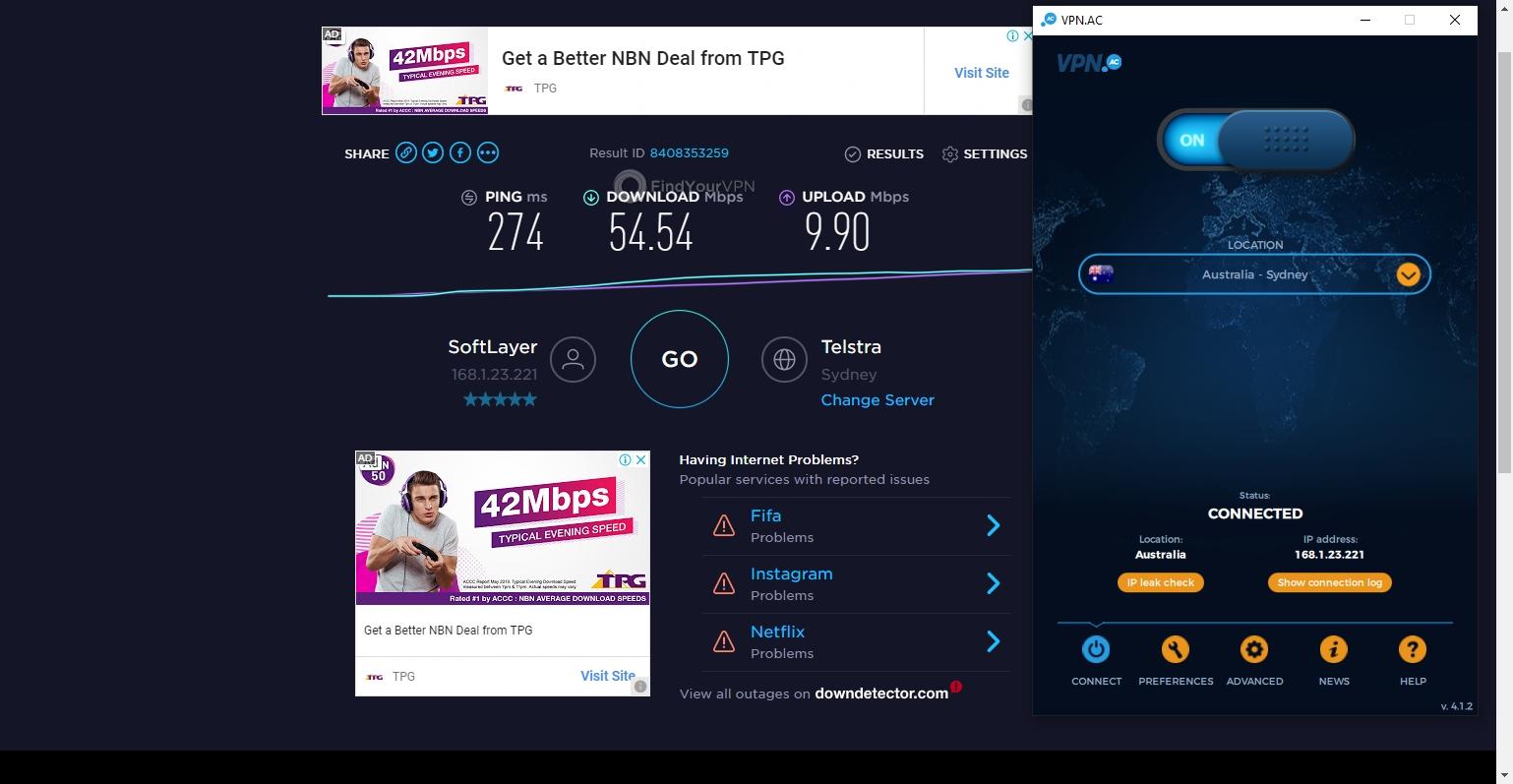 VPN.AC Speed Test Australia