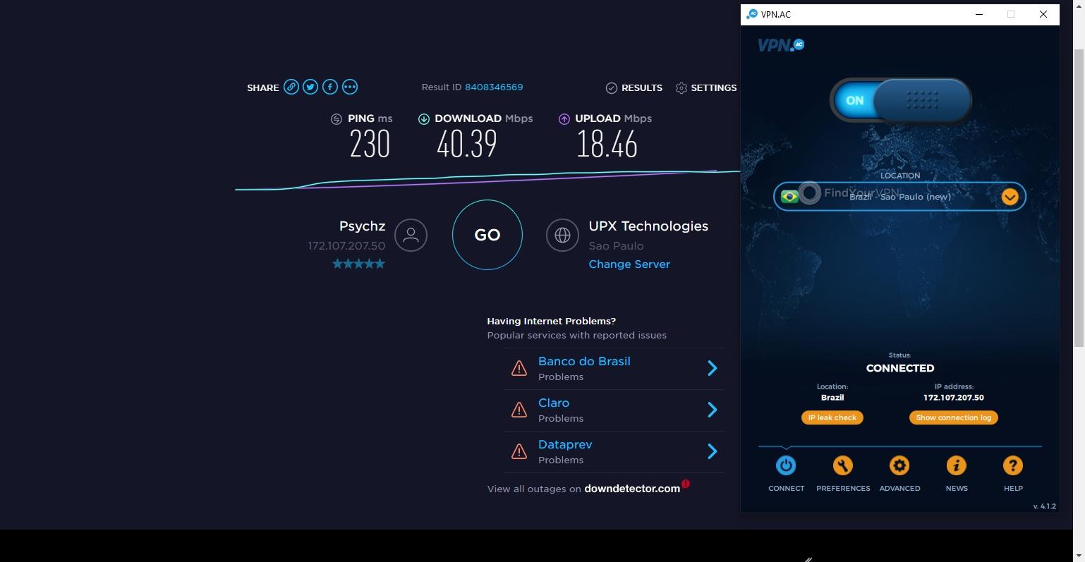 VPN.AC Speed Test Brazil