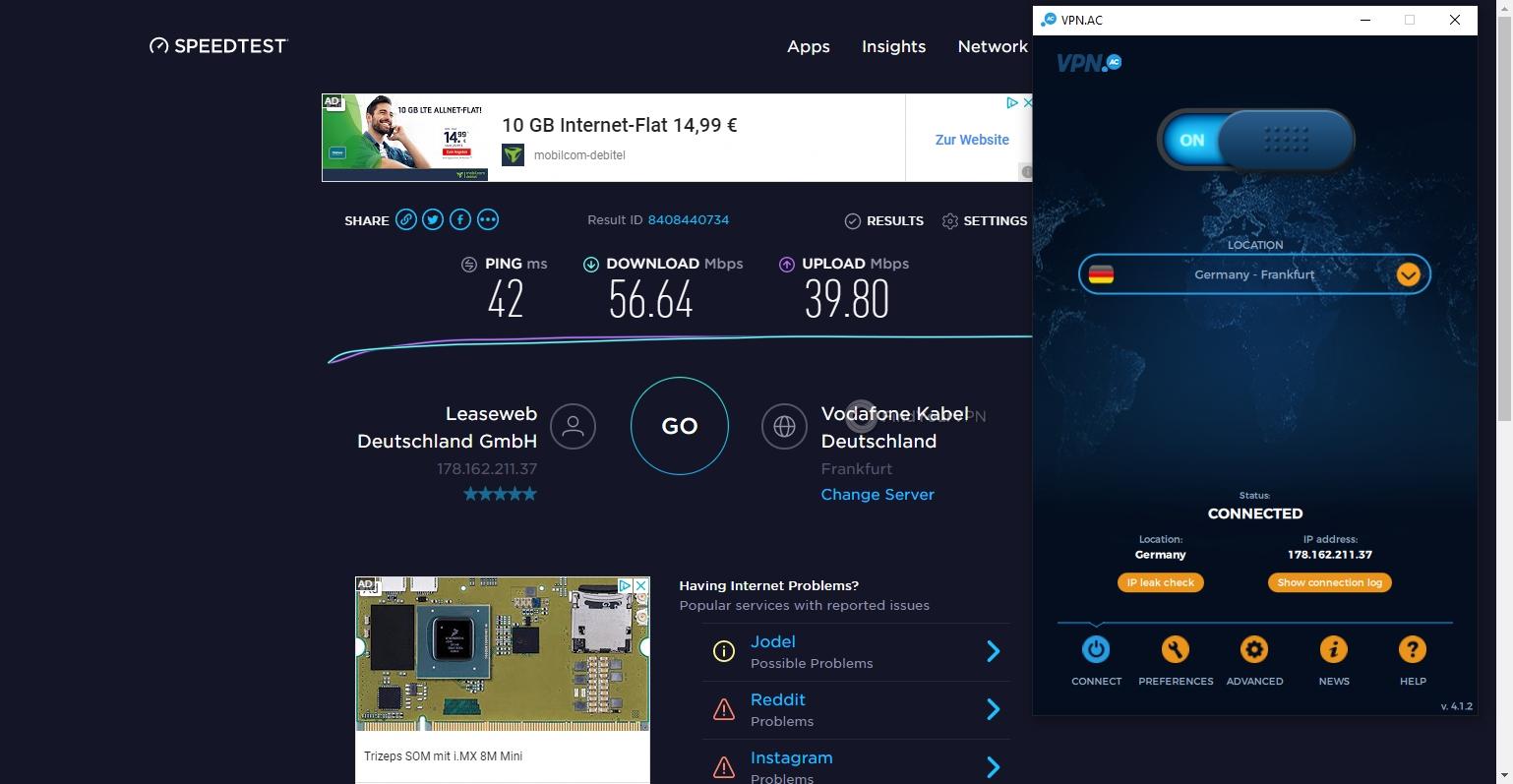 VPN.AC Speed Test Germany
