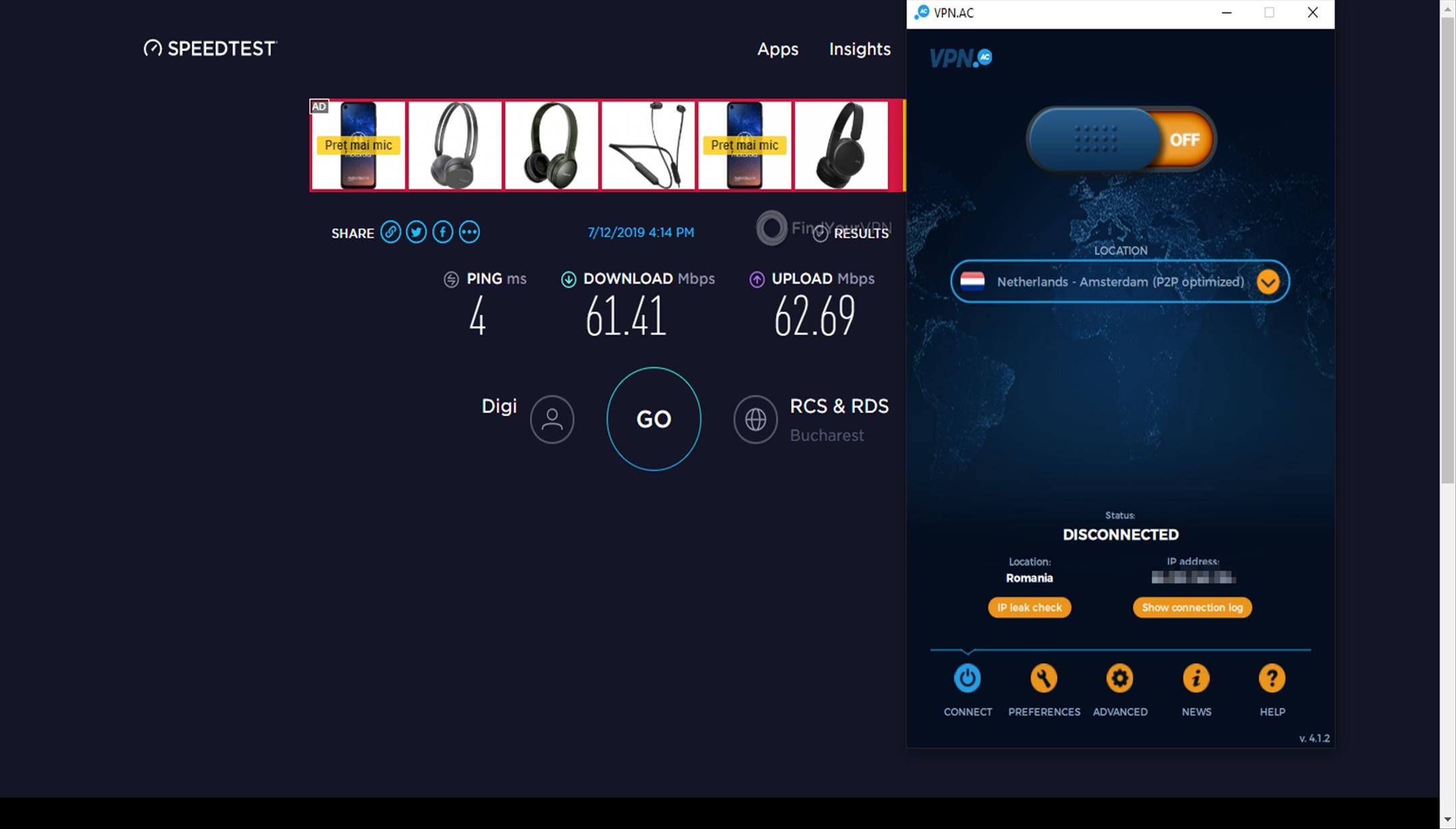 VPN.AC Speed Test No VPN