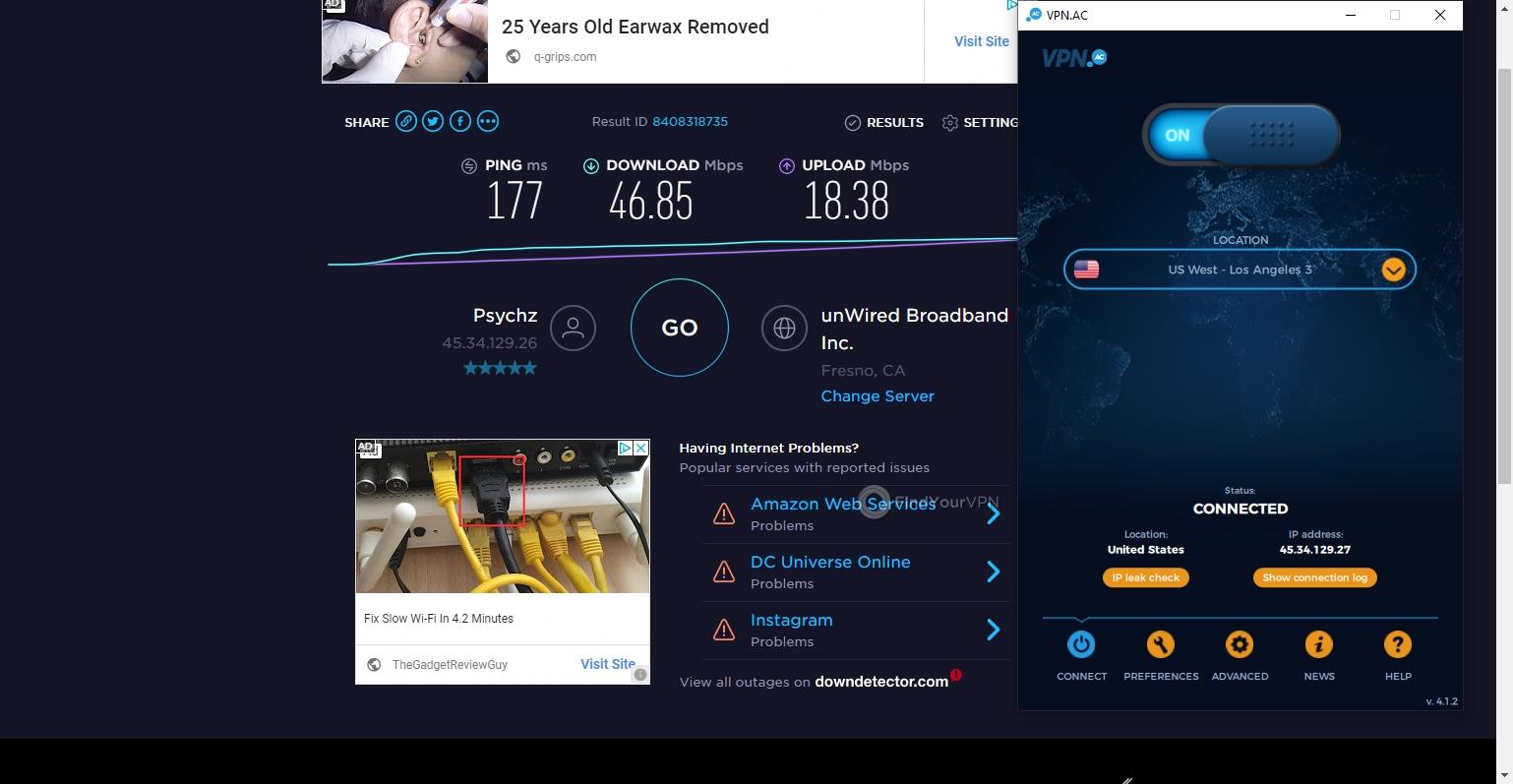 VPN.AC Speed Test U.S.A.