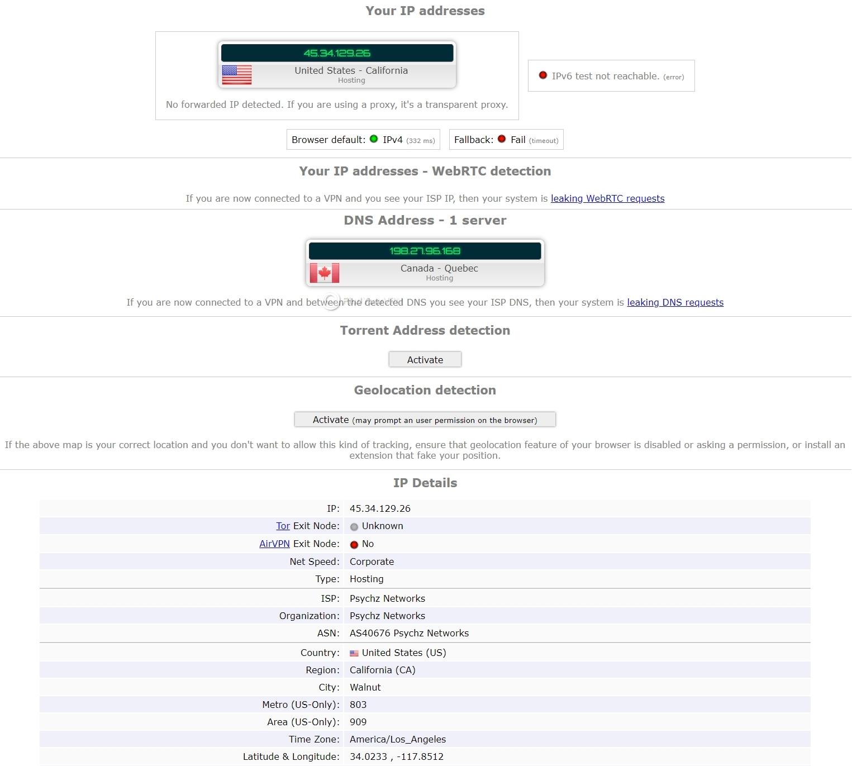 VPN.AC ipleak Test