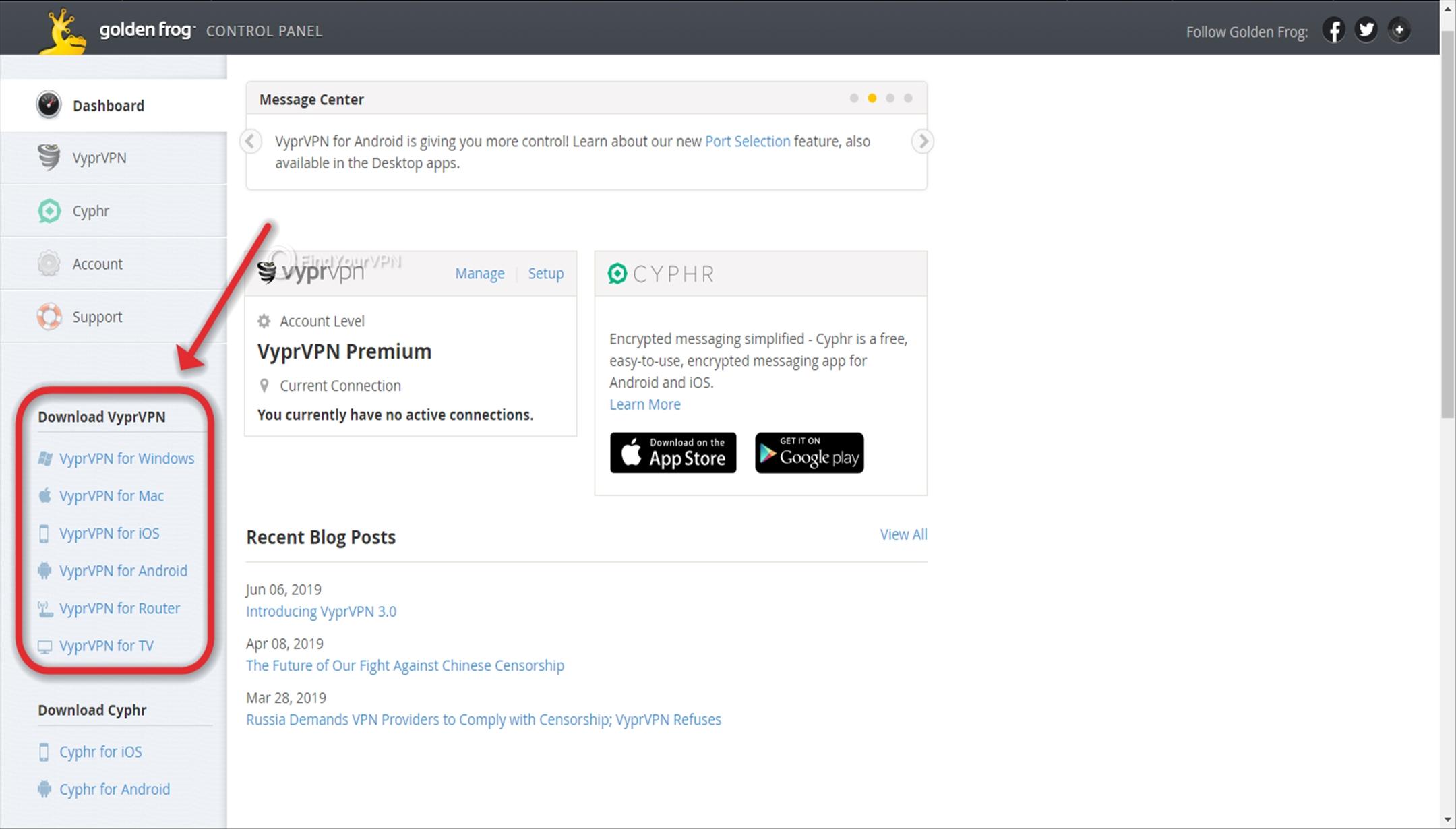 VyprVPN Download App Dashboard