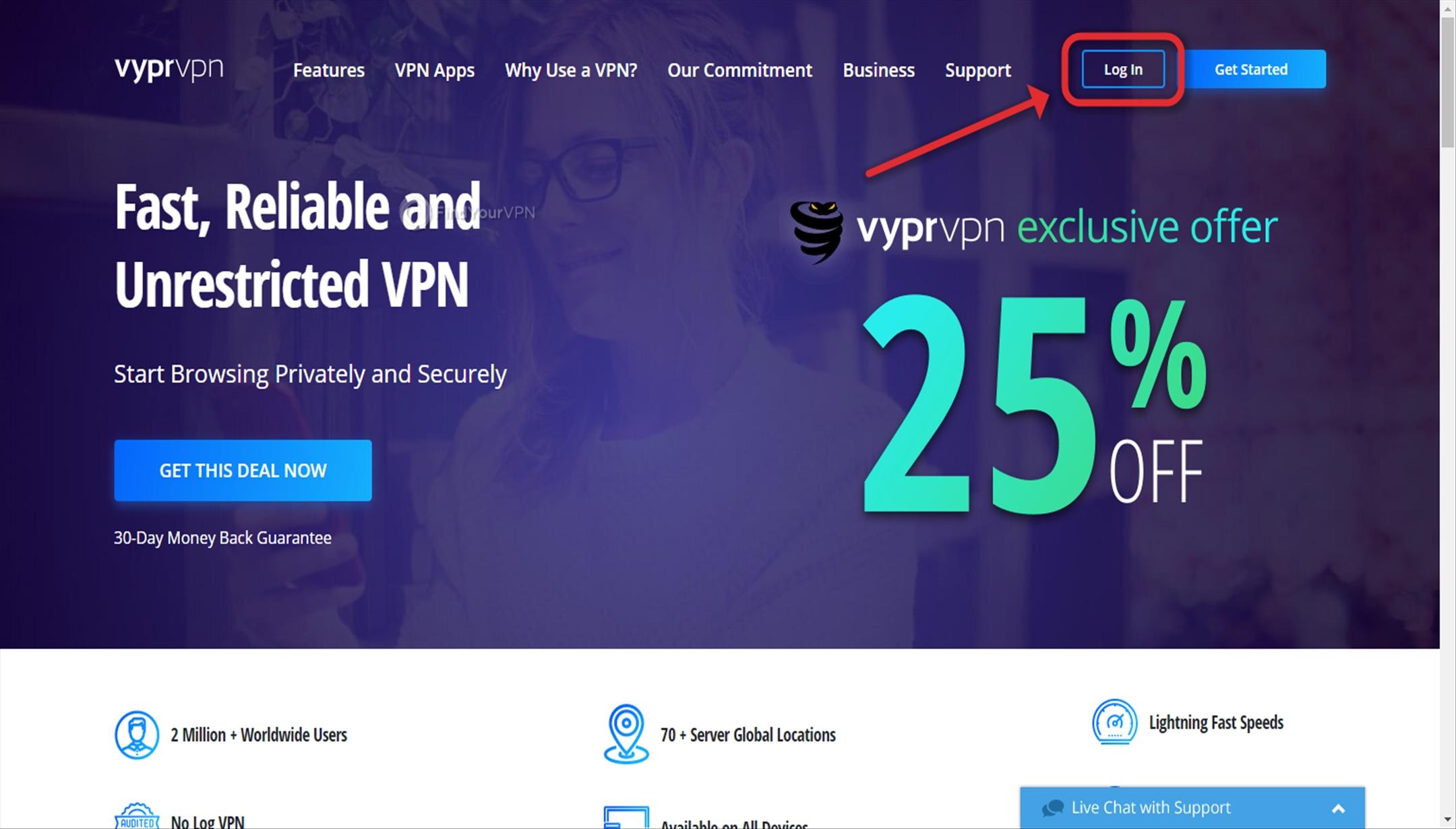 VyprVPN Download App Log In Button
