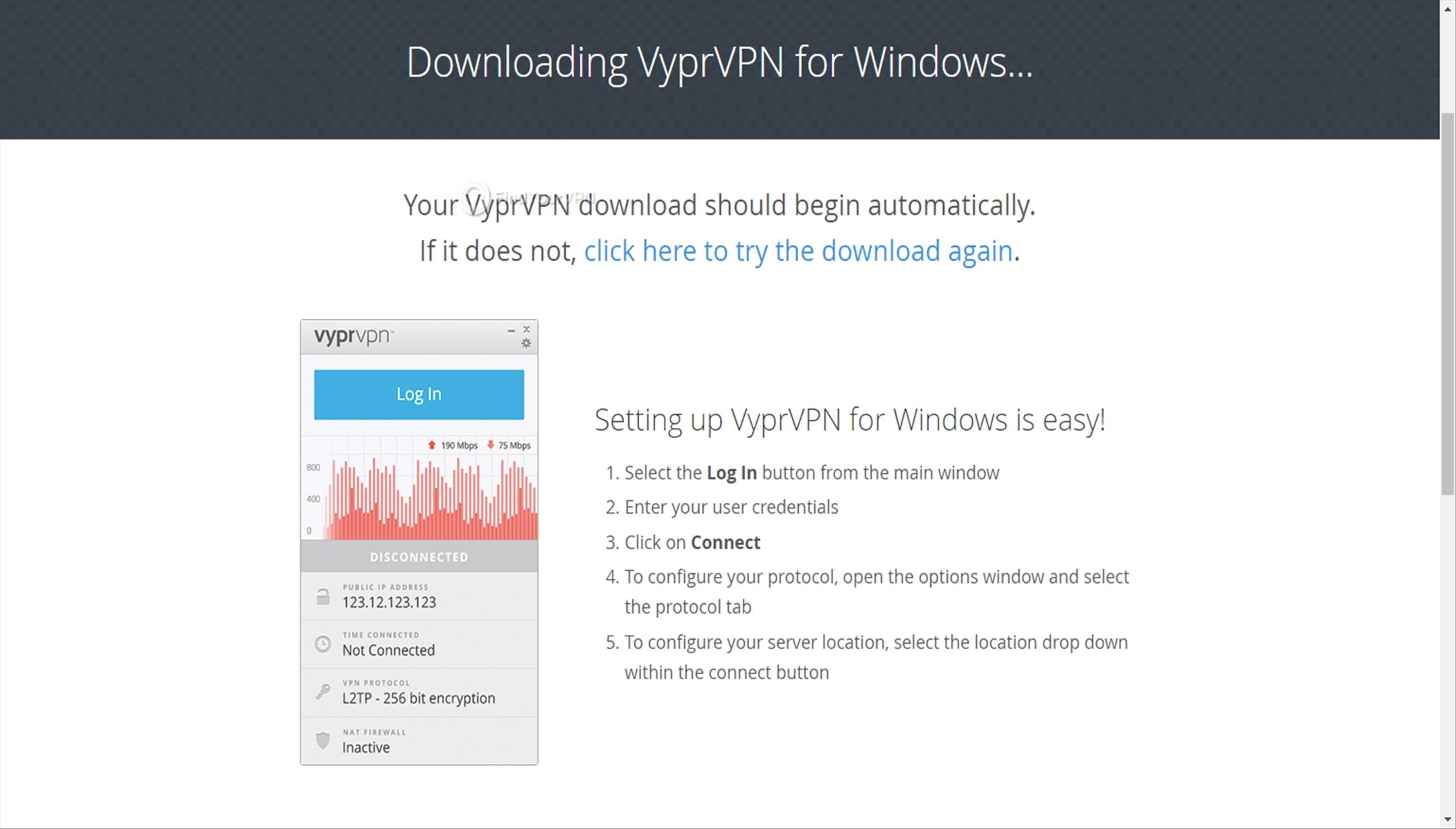 VyprVPN Download App Waiting Screen