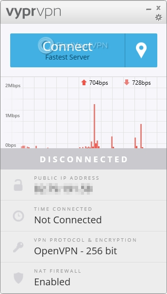 VyprVPN main screen disconnected