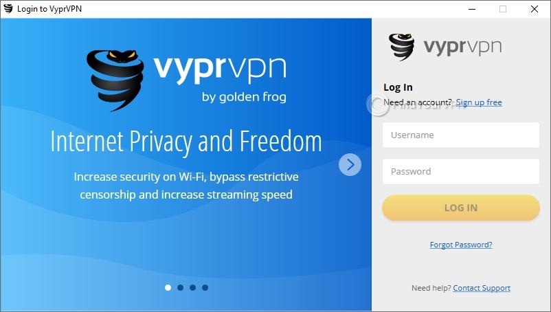 VyprVPN main screen login