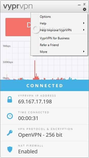 VyprVPN main screen menu