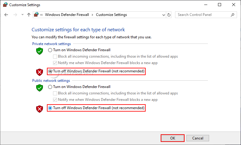 The window with settings to Turn off Windows Defender Firewall