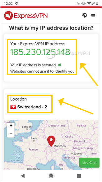 "The ExpressVPN site shows the ""IP Address Checker"" service"