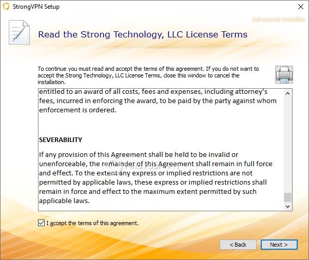 StrongVPN's license agreement