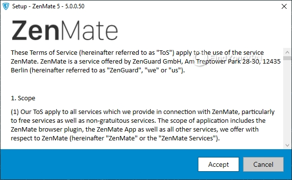 ZenMate VPN installer agreement