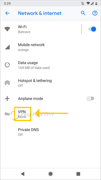 "Android shows the ""Network & internet"" screen and highlights ""VPN"""