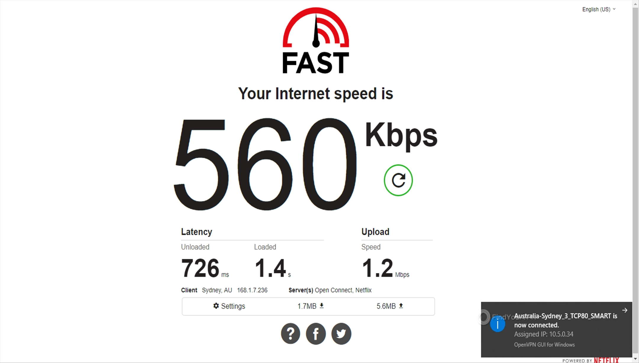 Getflix Australia 560 Kbps speed