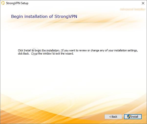 StrongVPN installation confirmation