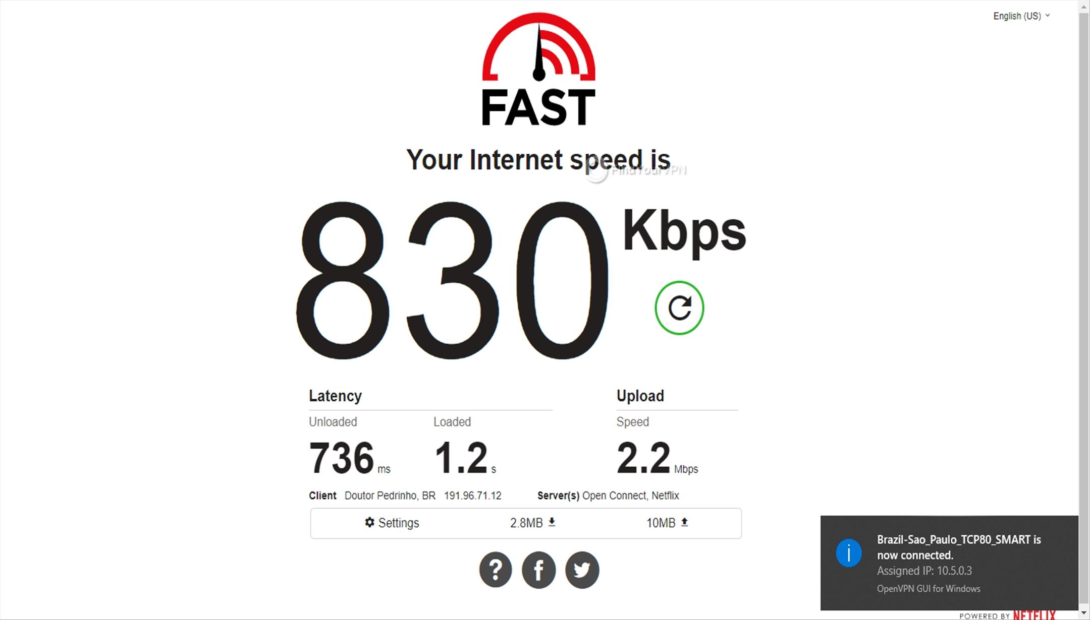 Getflix Brazil 830 Kbps speed