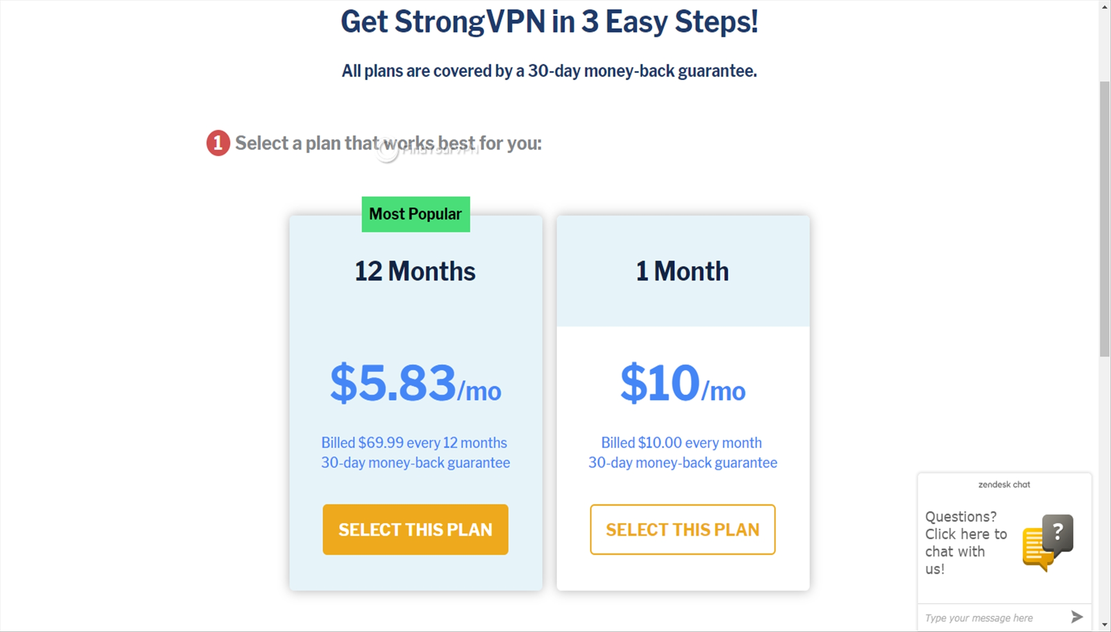StrongVPN offers two subscriptions