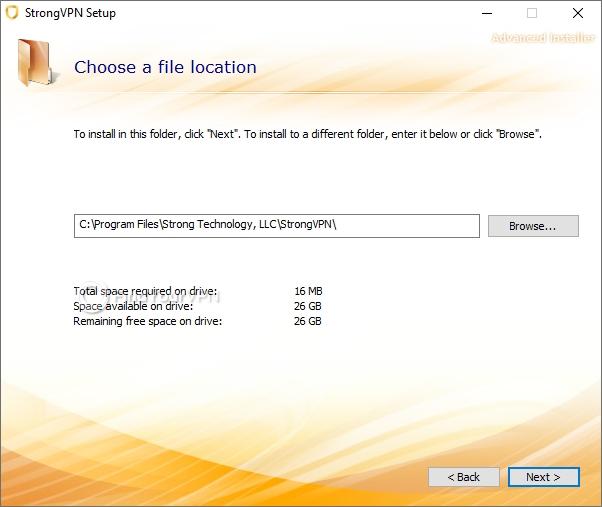 Destination path configuration during StrongVPN setup