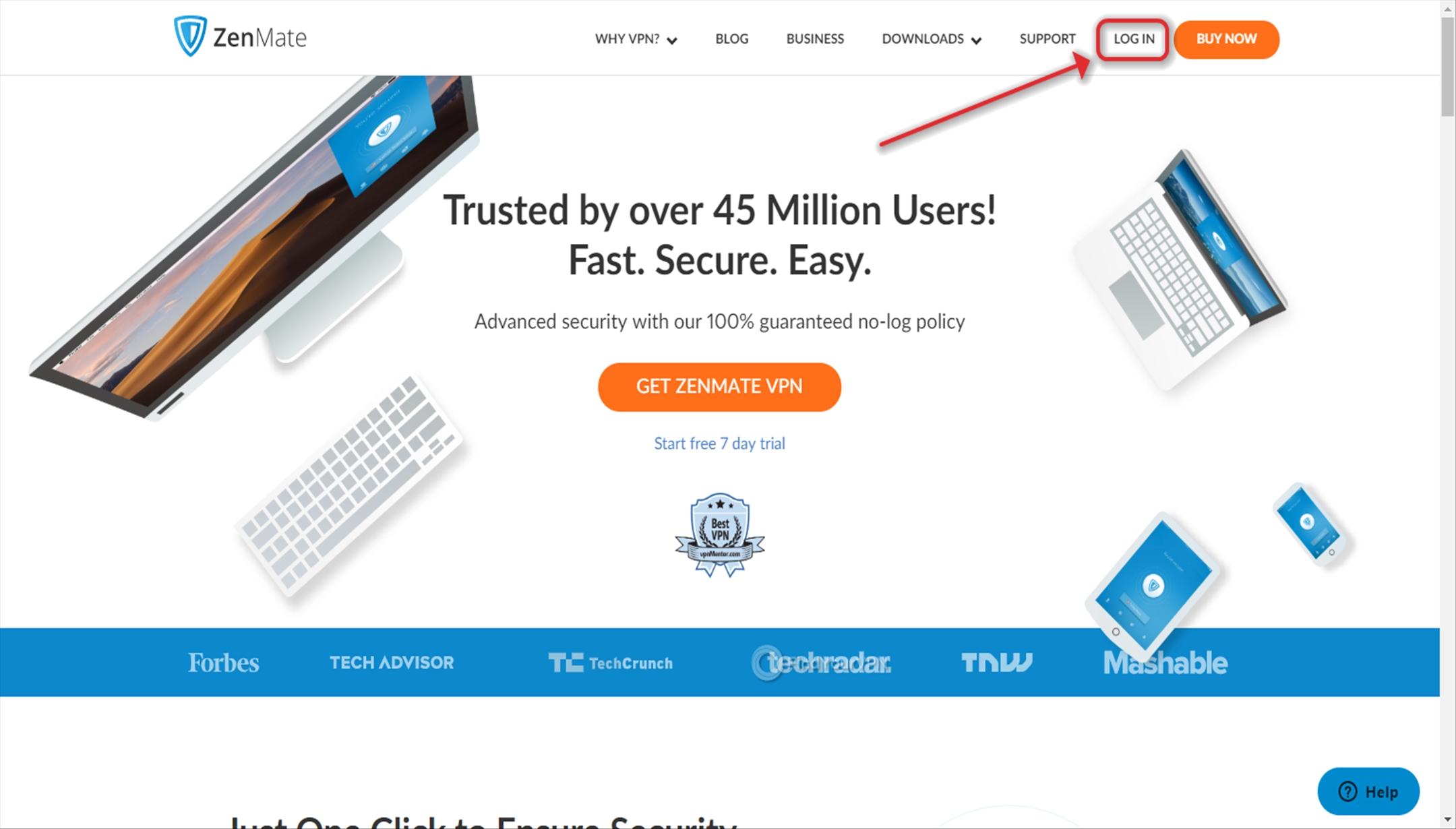 Login button on ZenMate VPN website