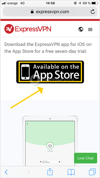 ExpressVPN shows the setup page for iOS