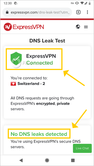 The ExpressVPN site shows the DNS Leak Test results
