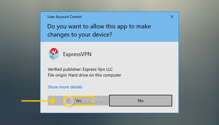 The User Account Control (UAC) window for ExpressVPN