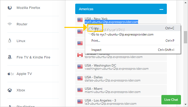 """The ExpressVPN setup page shows an L2TP server and highlights the """"Copy"""" option in the right-click menu"""