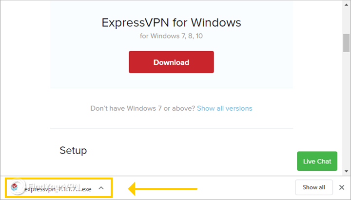 The ExpressVPN file is downloaded for Windows