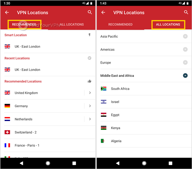 "ExpressVPN for Android shows ""Recommended"" and ""All Locations"""
