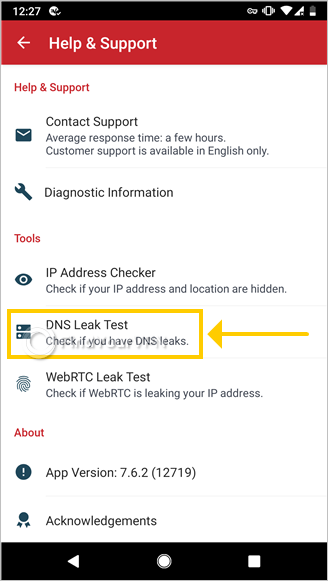 "ExpressVPN for Android shows how to use the ""DNS Leak Test"" tool"