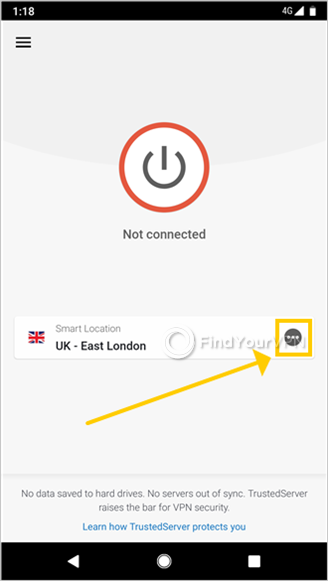 The main screen of ExpressVPN for Android highlights the location picker