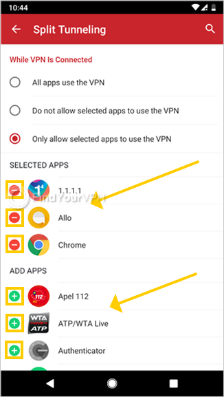 "ExpressVPN for Android shows how to select apps for ""Split Tunneling"""