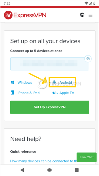 The ExpressVPN setup page highlights Android