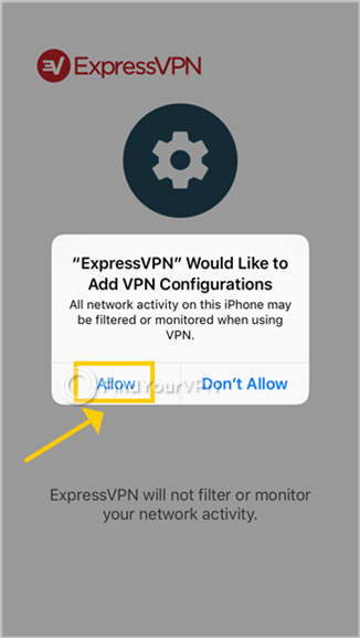 ExpressVPN for iOS requests permission to add VPN configurations