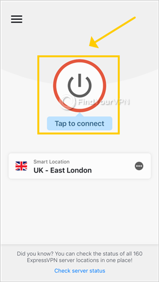 "ExpressVPN for iOS shows the main screen and highlights the ""Tap to connect"" button"
